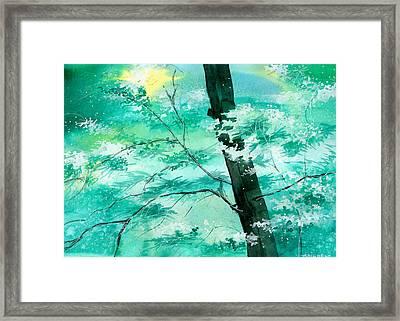 White N Green Framed Print by Anil Nene