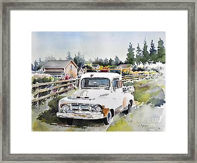White Old Truck Parked Over The Fench Framed Print