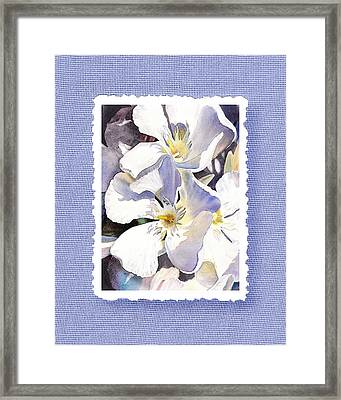 White Oleander On Vintage Blue Framed Print by Irina Sztukowski