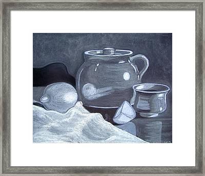White On Black Still Life Framed Print by Linda Williams