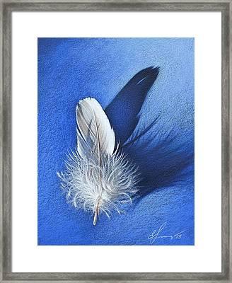 White On Blue Framed Print by Elena Kolotusha