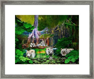 White On Green Framed Print