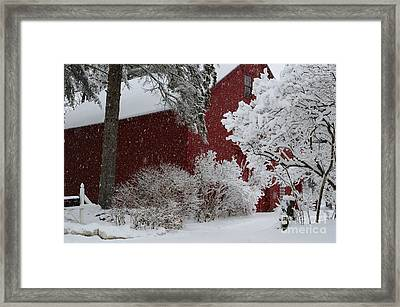 White On Red Framed Print by Paul Noble