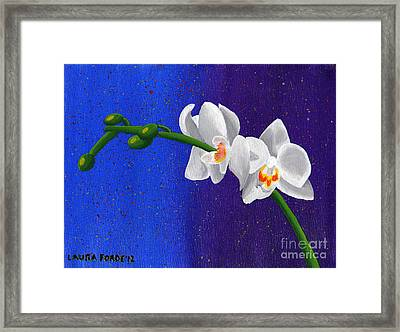 Framed Print featuring the painting White Orchids by Laura Forde