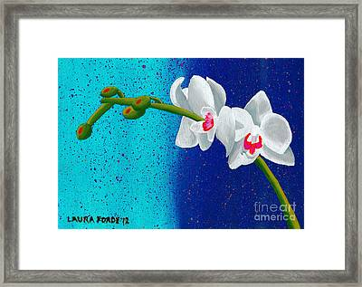 Framed Print featuring the painting White Orchids On Blue by Laura Forde