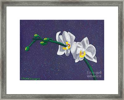 Framed Print featuring the painting White Orchids On Dark Blue by Laura Forde