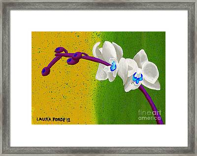 White Orchids On Yellow And Green Framed Print by Laura Forde