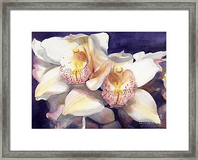 White Orchids Watercolor Framed Print