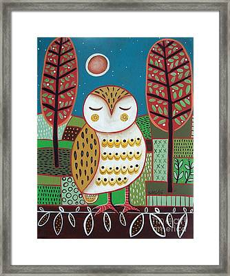 White Owl Framed Print by Karla Gerard