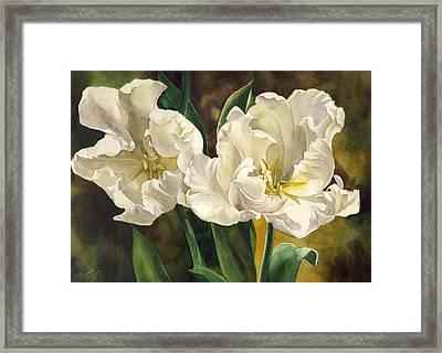 White Parrot Tulips Framed Print