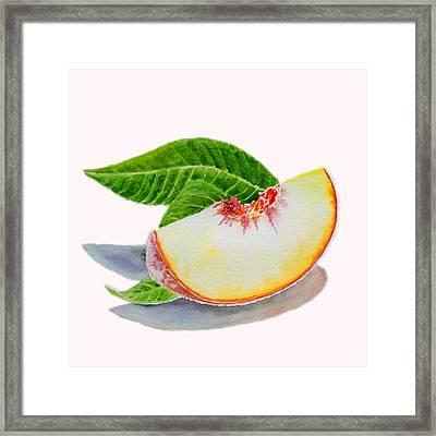 White Peach Slice  Framed Print