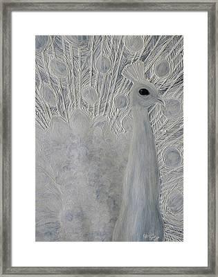 White Peacock Framed Print by Patricia Olson