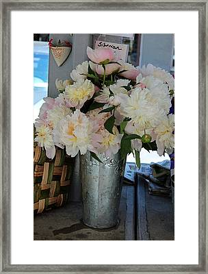 White Peonies For Sale Framed Print