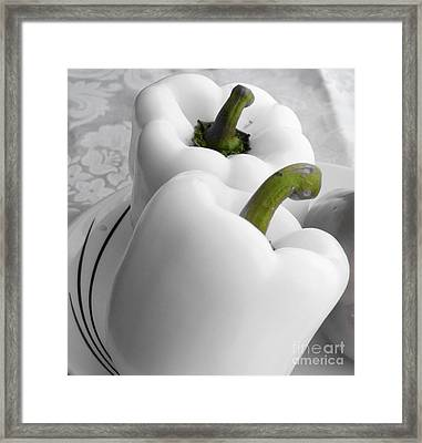 White Peppers - Food - Vegetables Framed Print by Barbara Griffin