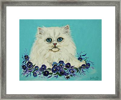 Framed Print featuring the painting White Persian In Pansy Patch Original Forsale by Bob and Nadine Johnston