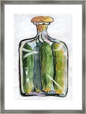White Pickle Jar Art Framed Print by Blenda Studio