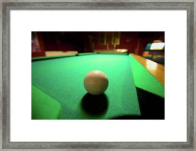 White Pool Ball Lit By Electric Lights Framed Print