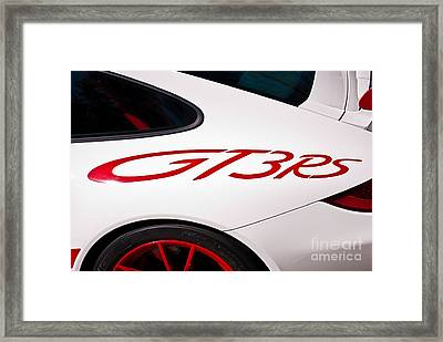 White Porsche Gt3rs - Rear Quarter Framed Print