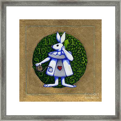 Framed Print featuring the mixed media White Rabbit Wonderland by Donna Huntriss