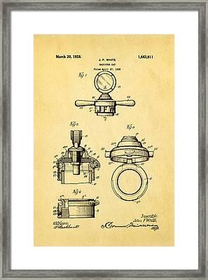 White Radiator Cap Patent Art 1928 Framed Print by Ian Monk