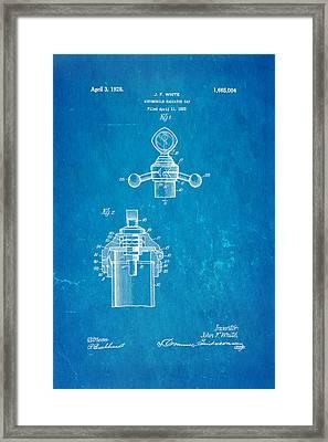 White Radiator Cap Patent Art 3 1928 Blueprint Framed Print