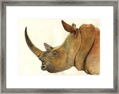 White Rhino Head Study Framed Print by Juan  Bosco