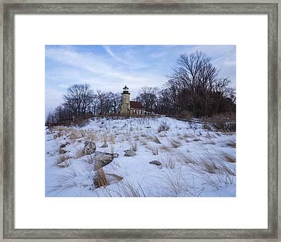 White River Lighthouse In Winter Framed Print