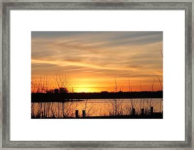White Rock Lake Sunset Framed Print by Lorri Crossno