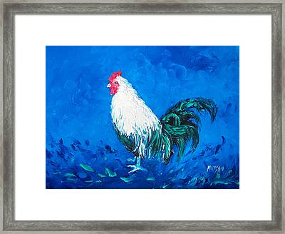 White Rooster For A Blue Kitchen Framed Print