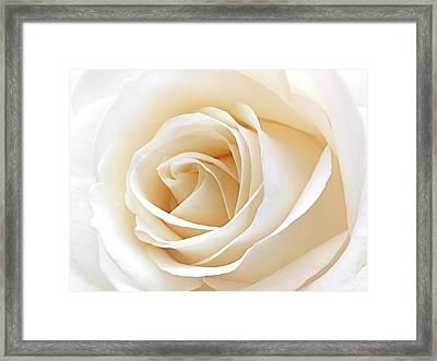 White Rose Heart Framed Print