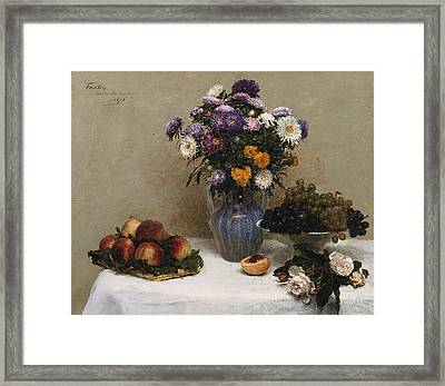 White Roses And Chrysanthemums Framed Print