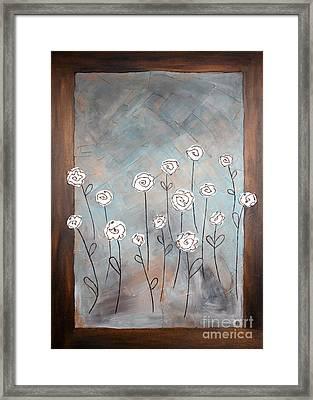 White Roses Framed Print by Home Art