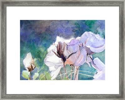 White Roses In The Shade Framed Print