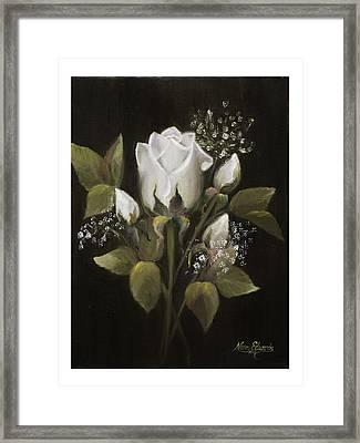 White Roses Framed Print by Nancy Edwards