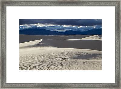 White Sands And San Andres Mountains Framed Print by Mary Lee Dereske