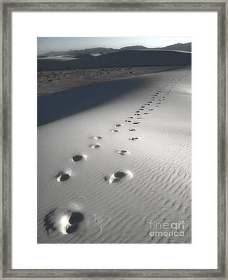 White Sands New Mexico Footsteps Framed Print by Gregory Dyer