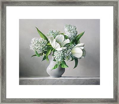 White  Sprintime  Flowers Framed Print by Pieter Wagemans