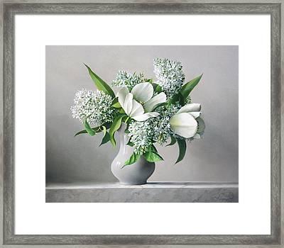 White  Sprintime  Flowers Framed Print