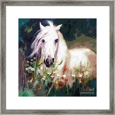 White Stallion In Wildflower Field Framed Print by Ginette Callaway