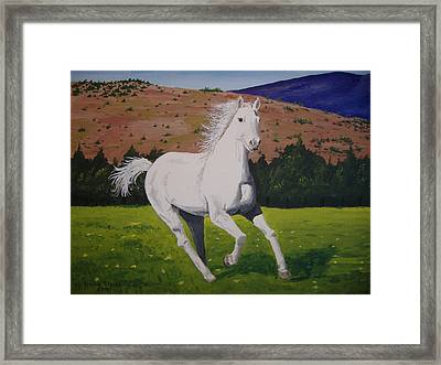 Framed Print featuring the painting White Stallion by Norm Starks