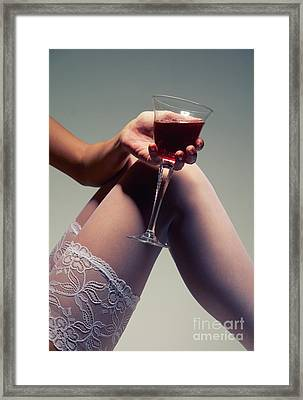White Stockings With Wineglass Framed Print