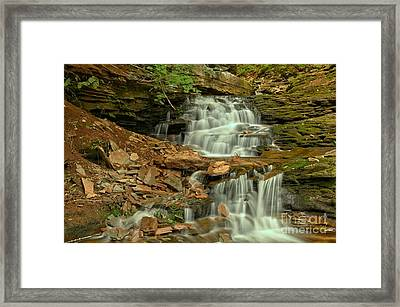 White Streams Over Brown Rocks Framed Print by Adam Jewell