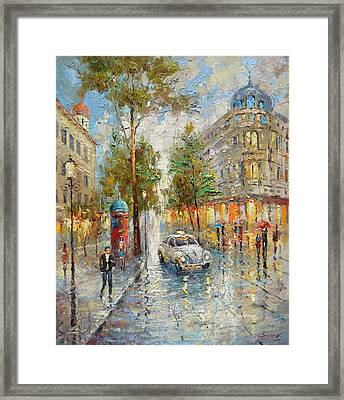 White Taxi Framed Print