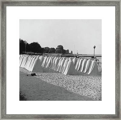 White Tents On A Beach Framed Print by Horst P. Horst