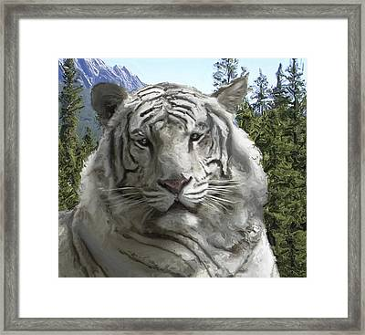 White Tiger In Its Forest Habitat Framed Print