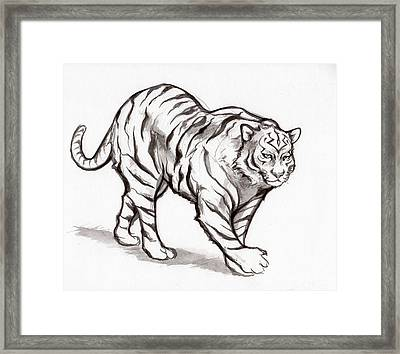 White Tiger Framed Print by Miguel Karlo Dominado