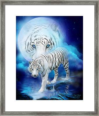White Tiger Moon Framed Print by Carol Cavalaris