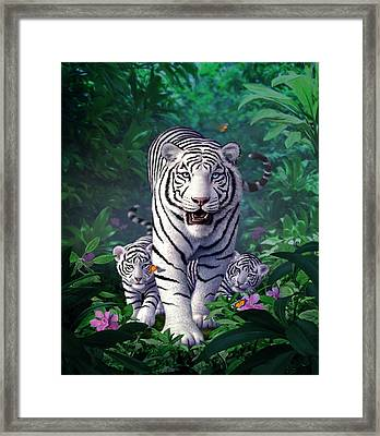 White Tigers Framed Print by Jerry LoFaro