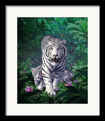 Tiger Digital Art Framed Prints