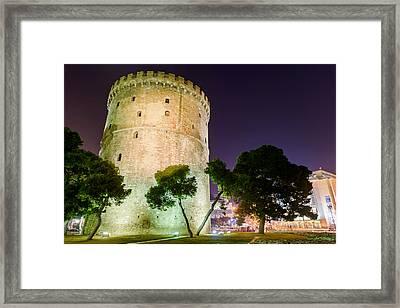 White Tower In Salonica Greece Framed Print by Sotiris Filippou